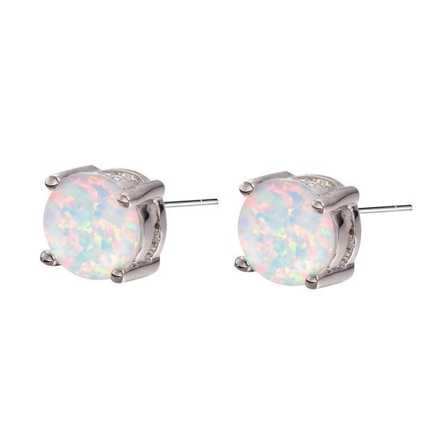 New Arrival White Fire Opal 925 Sterling Silver Stud Earrings Free Shipping Fashion Stud Earrings PE34