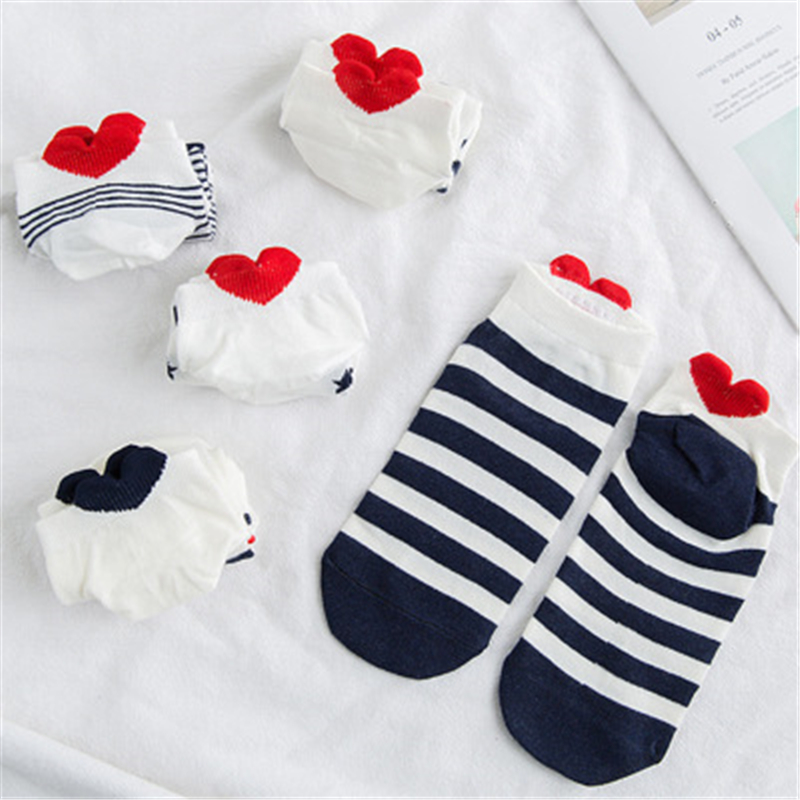 10 Pieces=5 Pairs Women Funny Spring Novelty Comfortable Cartoon Heart Animal Print Cat Lovely Full Cotton Boat Socks Dog Kawaii