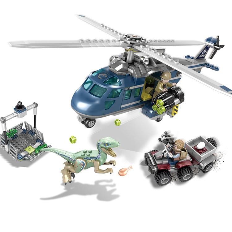 все цены на Jurassic World 3 Park 75928 SY1079 433pcs Raptor Helicopter Tracking Bruce Building Blocks Children Toys Compatible with Legoe онлайн