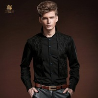 Fanzhuan Free Shipping New fashion casual black men's male court's spring lace shirt false two Mens Black Shirt 14204 On Sale