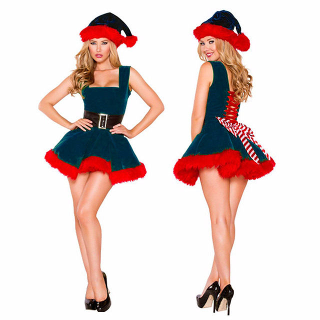 Womenu0027s Santa Elf Costume Xmas Holiday Green Dress Red Fur Trim Christmas Santa Claus Role Play  sc 1 st  AliExpress.com & Womenu0027s Santa Elf Costume Xmas Holiday Green Dress Red Fur Trim ...