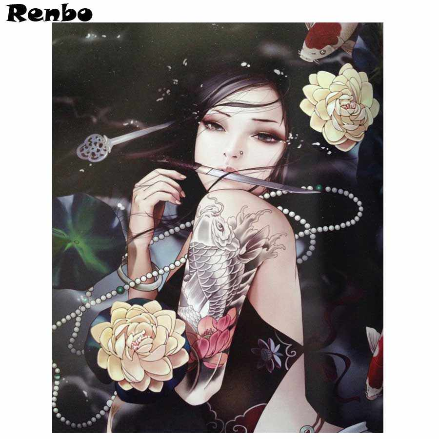 Diamond Embroidery painting beauty Full square drill 3D DIY Diamond Painting Japanese woman Cross Stitch mosaic Picture wall art
