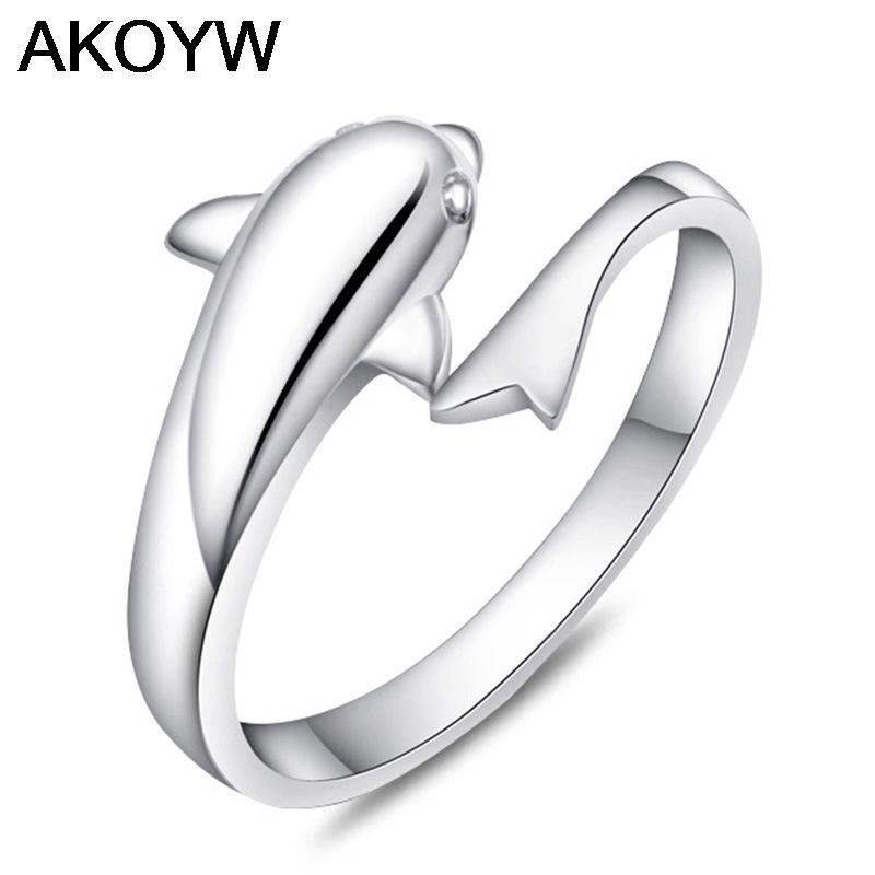 Silver Plated Dolphin Opening Ring Romantic Female Models