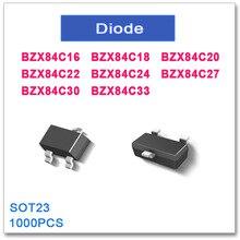 1000 CHIẾC SOT23 BZX84C16 BZX84C18 BZX84C20 BZX84C22 BZX84C24 BZX84C27 BZX84C30 BZX84C33 BZX84C Mới chất lượng Cao