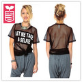 HYD High quality See-through gauze Mesh 2016 summer Sexy Letter t-shirt womens short-sleeve tees tops,plus size
