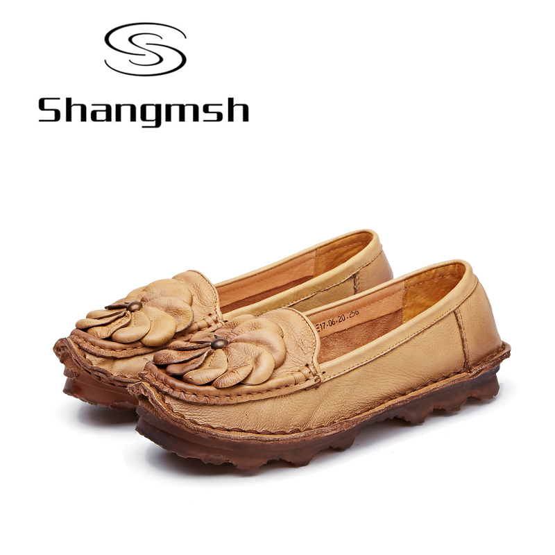 Shangmsh Women Shoes Mother Loafers Soft Flats Female Driving Flower Casual Footwear Solid Boat Shoe Genuine Leather Lady Flats women genuine leather shoes for mother loafers new casual oxfords plus size soft comfortable flats sapato feminino zapatos mujer