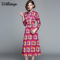 Willstage 2018 Bow Tee Printed Women Dress New Spring Autumn A Line Elegant Casual OL Office