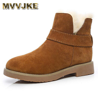 MVVJKE 2017 Genuine Leather wool snow boots Short tube warm cotton boots Round head woman boots Winter cotton shoes Botas mujer