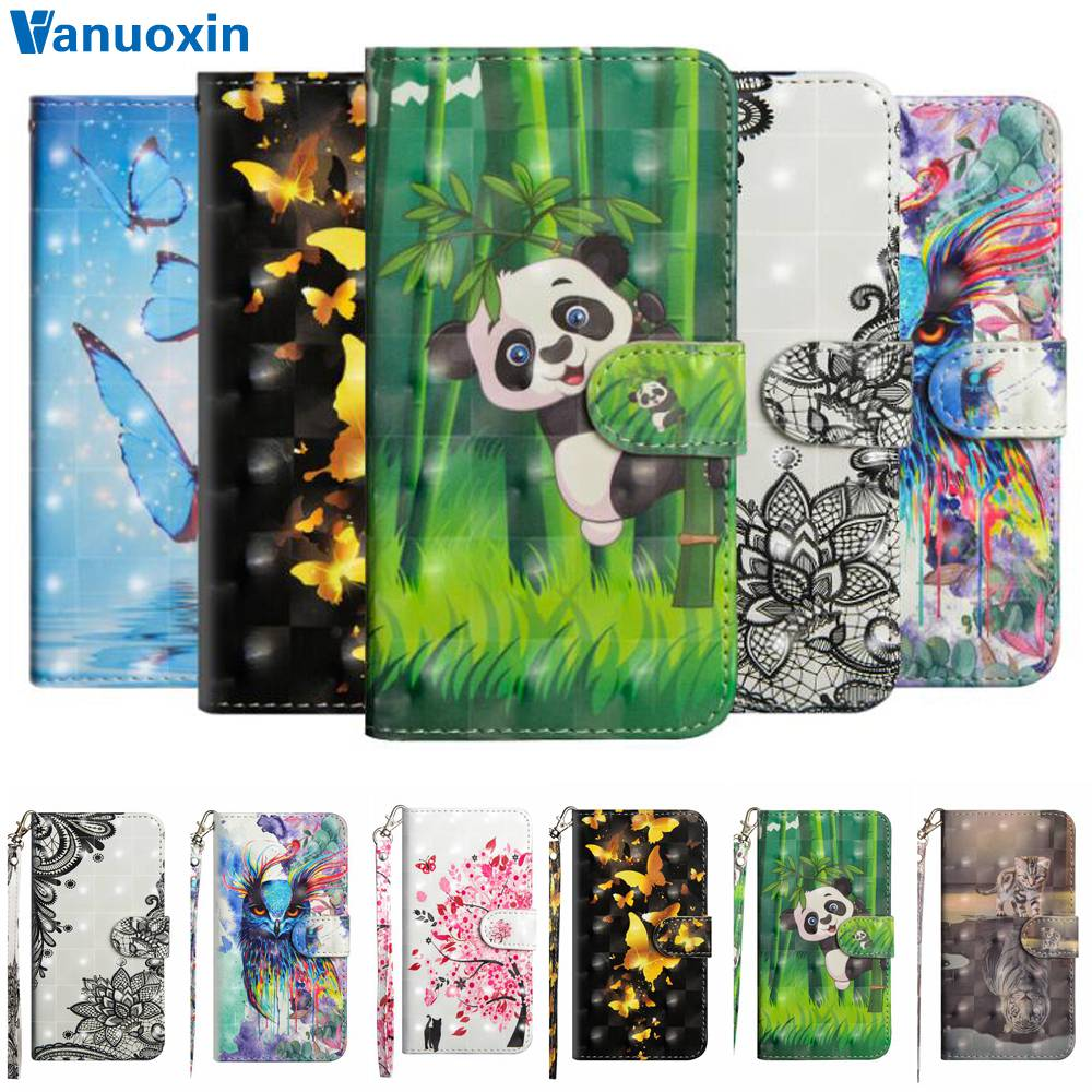 For Fundas Huawei Honor 7A Pro case For Y6 Prime 2018 Huawei Honor 7A Pro 5.7 inch cover 3D Panda Wallet cover Flip Phone cases