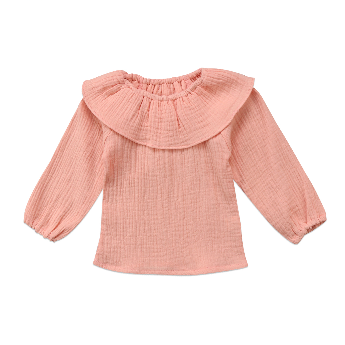 Fashion New Kids Baby Girl Ruffle Collar Long Sleeve Top Solid T-shirt Clothes