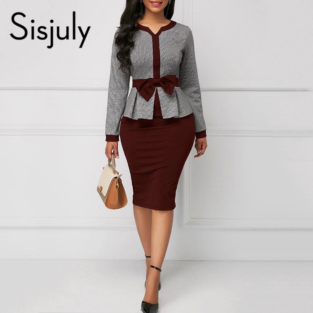Sisjuly Women Dress Bodycon Winter Bowknot Sheath Long Sleeve Office Ladies Color Block Patchwork Elegant Chic OL Dresses Girl