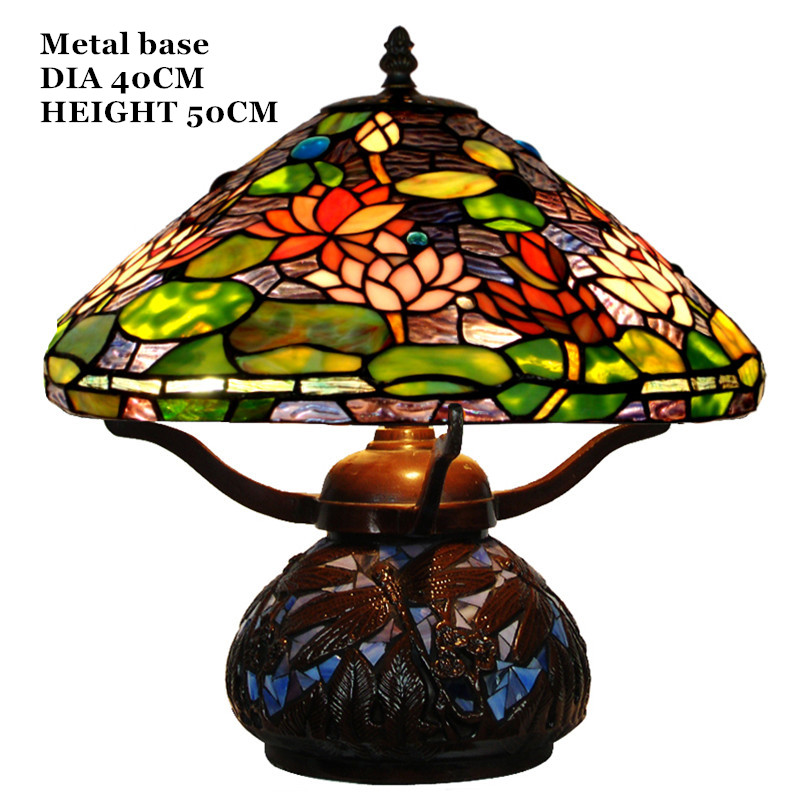 FUMAT Glass Art Table Lamps European Style Lotus Stained Glass Lamp Hand  Made LED Bedside Living Room Decor Light Fixtures  In LED Table Lamps From  Lights ...