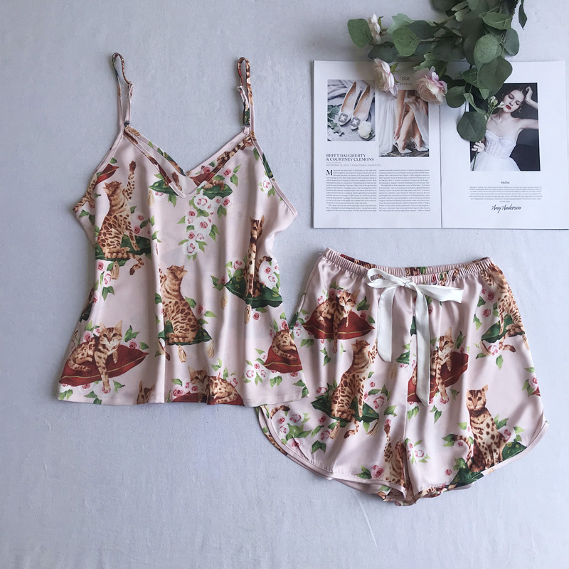 Summer New Print Women   Pajamas     Set   Nightwear Sleeveless Strap Shirt&Shorts Sleepwear Casual Satin Intimate Lingerie Home Wear