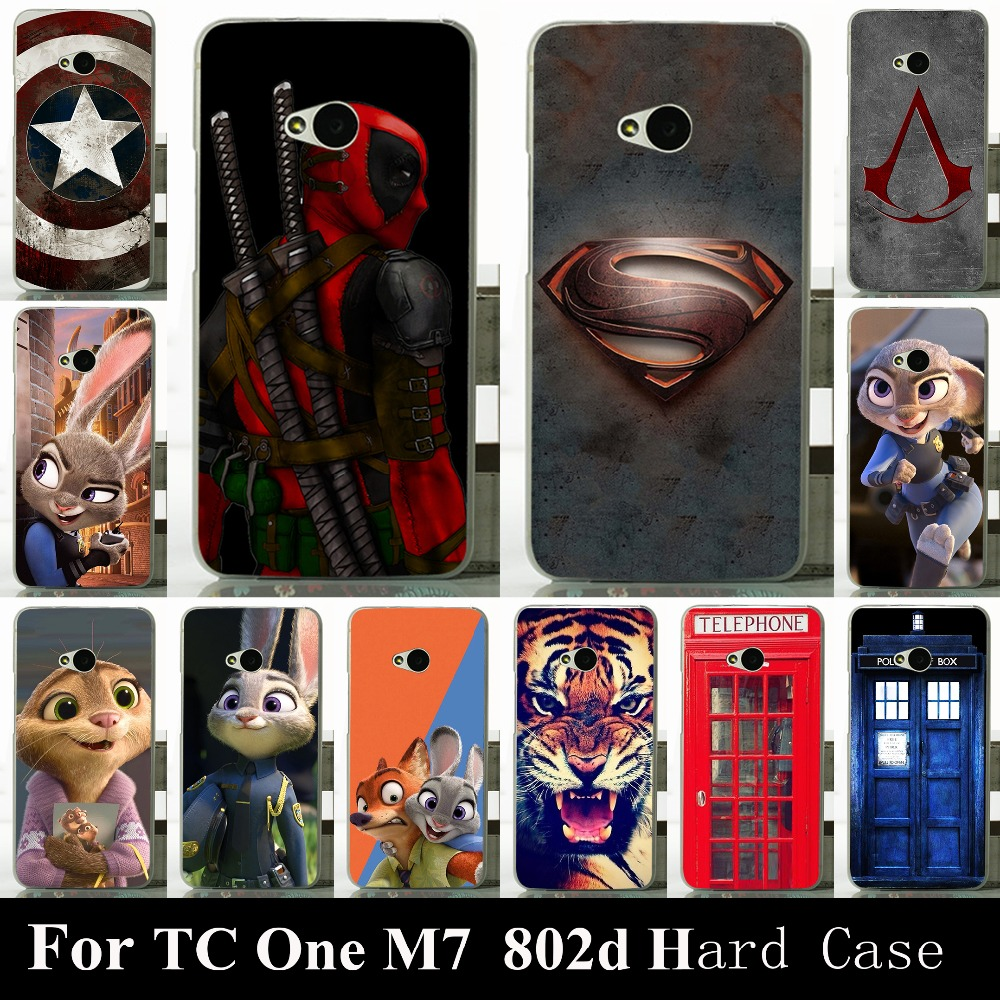 For HTC One M7 Dual Sim 802d High Quality Transpatent Hard Plastic Color Paint Case Mobile Phone Cover Case
