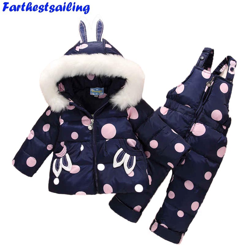 Russia Winter Warm Baby Girl's Clothing Sets Girl Ski Suits Children's Outdoor Clothes Fur Down Coats Jackets+trousers/Jumpsuit russia baby girl ski suit sets winter children clothing set boy s outdoor sport kids down coats jackets trousers 30degree 30