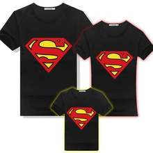 Anime Superman Cotton T-shirt Family Matching Outfit Mans Women Kids T-Shirts Parentage Clothes Tee Shirts Lovers Summer Tops