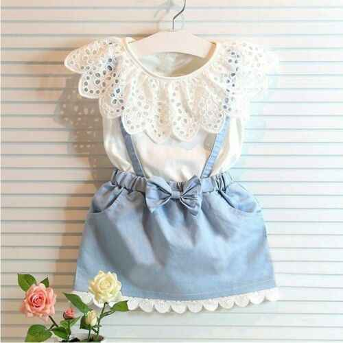 New Toddler Kids Baby Girls Outfits Clothes Ruffles T-shirt Tops+Strap Denim  Bowknot Dress 2PCS Sets 2-7Y