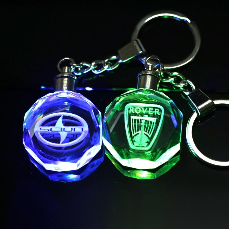 Customized Logo Crystal Key Chain Laser Engraved Key Ring LED Light Keychain Pendant Keyring Souvenir Gift for Drop Shipping цена