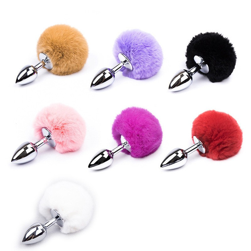 Anal Toy Butt Plug With Crystal Jewelry Smooth Touch Stainless Steel Bunny Tail Anal Plug  Anal Sex Toys For Woman Men Gay