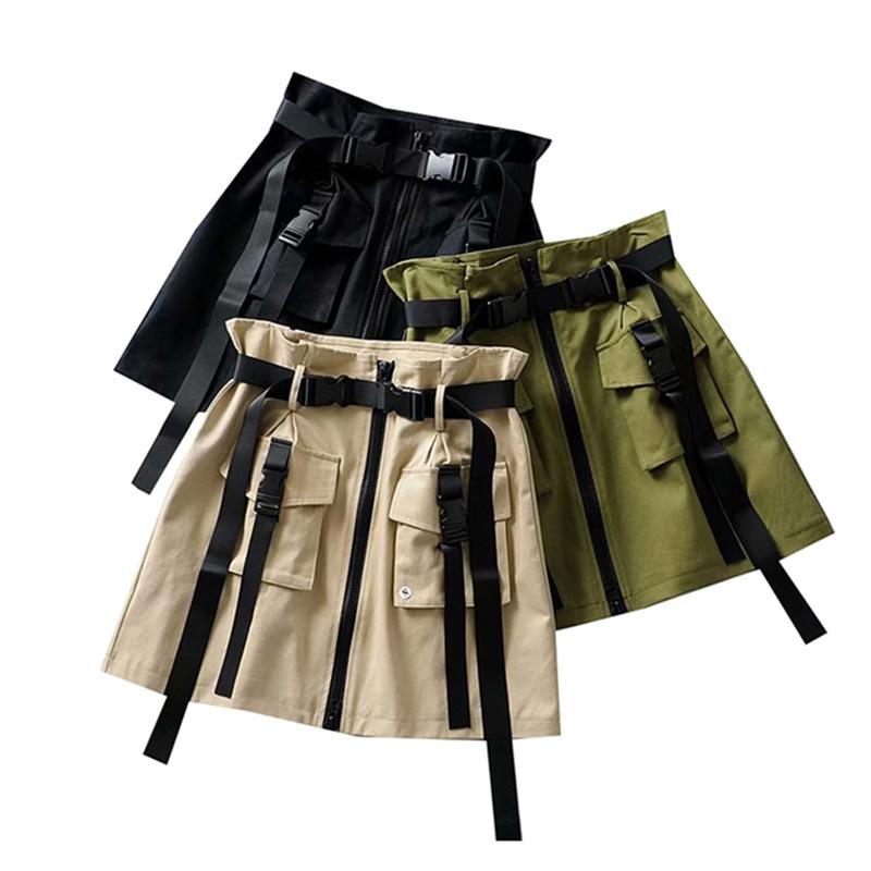 Summer Big Pockets Short Cargo Skirts Women High Waist Vintage Ribbon Skirt High Quality Women Harajuku A-Line Short Skirt