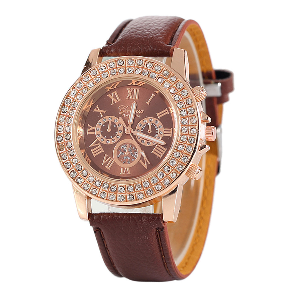 2018 Hot Luxury Brand Horloges Fashion Rhinestone Women Quartz Diamond Leather Clock Female Analog Wrist Simple Watch Round Case weiqin luxury gold wrist watch for women rhinestone crystal fashion ladies analog quartz watch reloj mujer clock female relogios