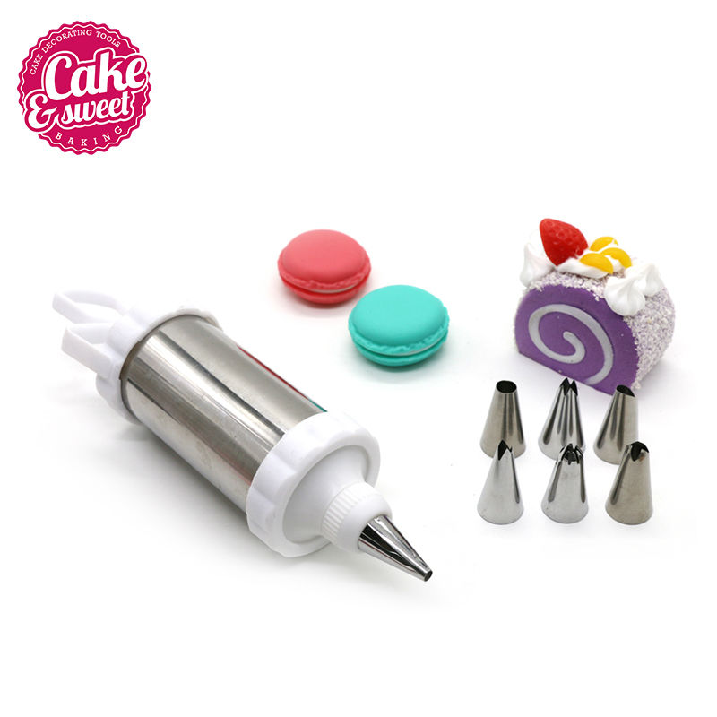 8-Pieces Set Cake Decorating Syringe Icing Piping Gun med Rustfrit Stål Pastry Tips Dyser DIY Icing Piping Cream Pastry Set