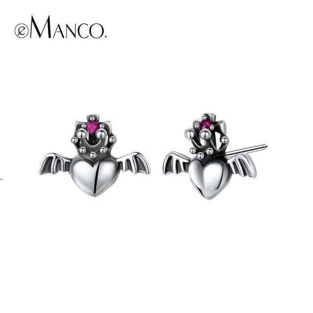 e-Manco 925 Sterling Silver Gothic Peach Earrings Prevent Allergy Romantic Earri