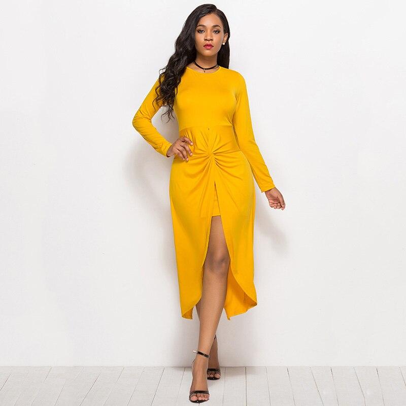 2019 Women Autumn Dress Twisted Ruched Slit Long Sleeves High Waist Asymmetrical Solid Slim Dresses Fashion Oversize Vestidos