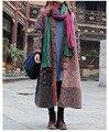Outono Inverno Algodão-acolchoado Parka Longo Blusão Casuais Jaqueta Solta Do Vintage Patchwork Jaqueta norte facce Impressão jaqueta outwear