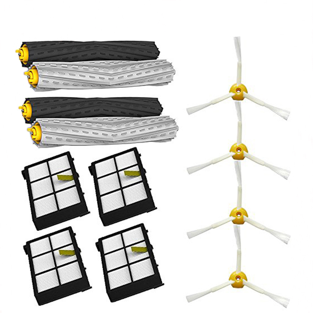 Tangle-Free Debris Extractor Set & Side Brushes & Hepa Filters Replacement For IRobot Roomba 800 Series 870 880 900 Series 980