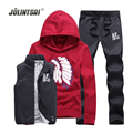 Jolintsai Lover's Custom Sweat Suits Men Tracksuit Set Fleece Jacket Vest Pants Sportswear Men 3 Pieces Sets 2017 Hoodies Men