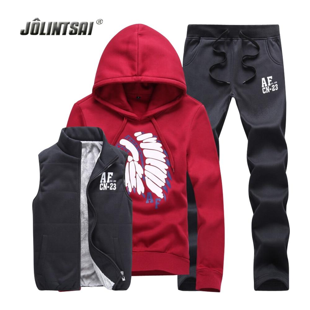 Nike jacket in chinese - Jolintsai Lover S Custom Sweat Suits Men Tracksuit Set Fleece Jacket Vest Pants Sportswear Men 3 Pieces