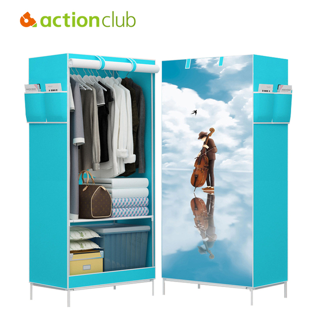 Actionclub Multi Function Wardrobe Folding Cloth Closet Cartoon Clothing Storage Cabinet DIY Assembly Reinforcement Small
