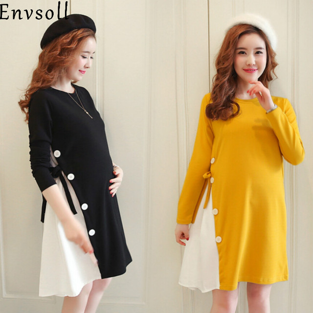 6d54ebebdb5 Envsoll New M-2XL Maternity Clothes Autumn Long Sleeve Cotton Pregnant Dress  Black Yellow Pregnancy Clothes For Pregnant Women