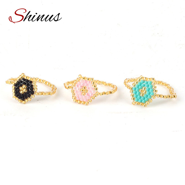 Shinus Excellent Rings For Women 3 Styles Vintage Seed Beads Handmade Woven Braided Bijoux Wedding Bands