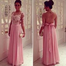 Sexy Pink Lace A Line Prom font b Dresses b font 2016 O Neck Half Sleeves