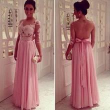 Sexy Rosa Spitze A Line Abendkleider 2016 O Neck Halbarm vestidos de fiesta Formale Abendkleid Partei Pageant kleider