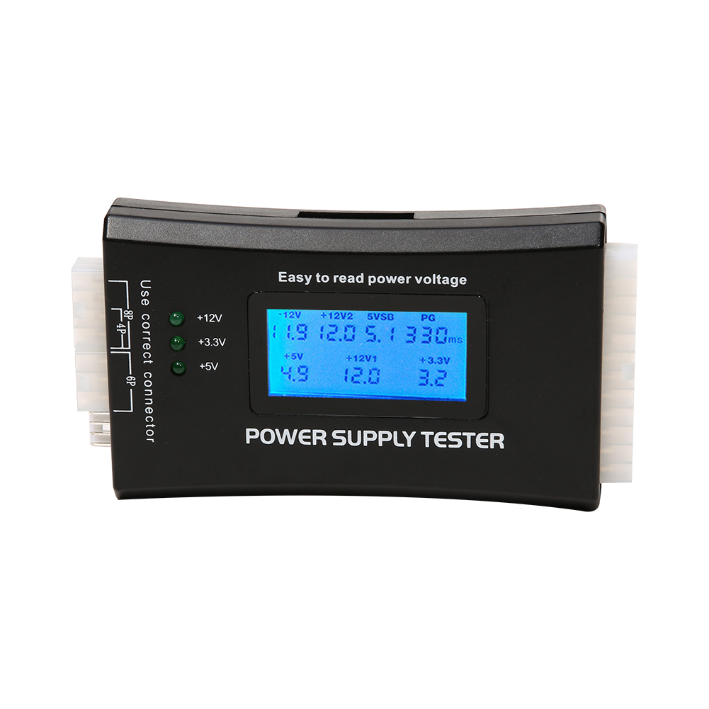 Digital LCD Power Bank Supply Tester Computer 20/24 Pin check quick Power Supply Tester Support 4/8/24/ATX 20 Pin Interface цена