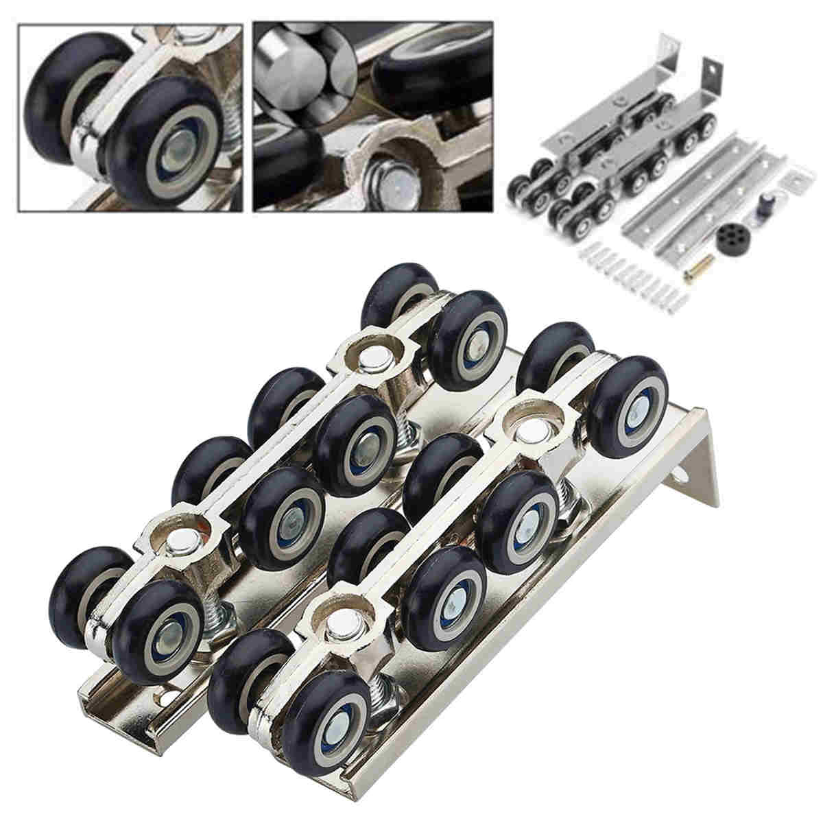 цена на Mayitr 8/12 Pcs Hanging Sliding Door Roller Wooden Door Wheels Closet Hangers Roller Furniture Hardware Kit Hot Selling