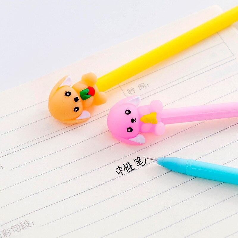 40 pcs super bonito pequeno cao de leite animal dos desenhos animados papelaria caneta neutra 0