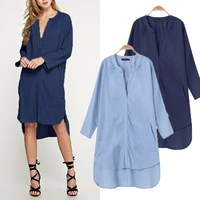 Women Fashion Long Sleeve Vintage Retro Summer Denim Jeans Shirts Long Sweatshirt Dress Ladies Vestidos Oversize