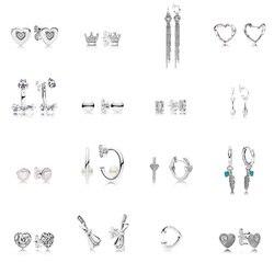 16 стилей, 925 пробы, серебряные серьги, перо, любовь, корона, бант, с полным кристаллом, подвеска, серьги для женщин, Свадебная вечеринка, ювелир...