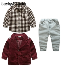 Kimocat kids clothes plaid shirt with coat and jeans for boys long sleeeve fashion boys clothing set for party clothes cheap Children Sets Turn-down Collar REGULAR Full Open Stitch Fits true to size take your normal size COTTON PureMilk