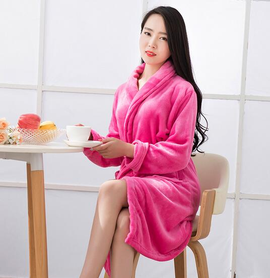 4ffb37acc2 New arrival thickening warm flannel women robe long sleeve autumn winter  sleepwear robes female bathrobes night gowns -in Robes from Underwear    Sleepwears ...