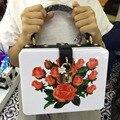 2017 Hot Sale New Arrival Polyester Hard Flowers Hasp Sequined Women Luxury Banquet Package Handbag Flower Clutch Messenger Bag