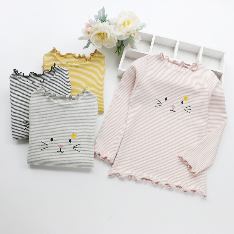 Toddler Girl Long Sleeve Tshirt Cat Embroidery Stripes T Shirts for Girls 2018 New Spring Cotton Laciness Sweatshirts Baby Tops
