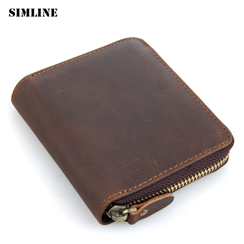 Brand Vintage Genuine Crazy Horse Leather Cowhide Men Mens Zipper Short Wallet Men's Wallets Purse With Coin Bag Pocket For Man vintage genuine leather wallets men fashion cowhide wallet 2017 high quality coin purse long zipper clutch large capacity bag