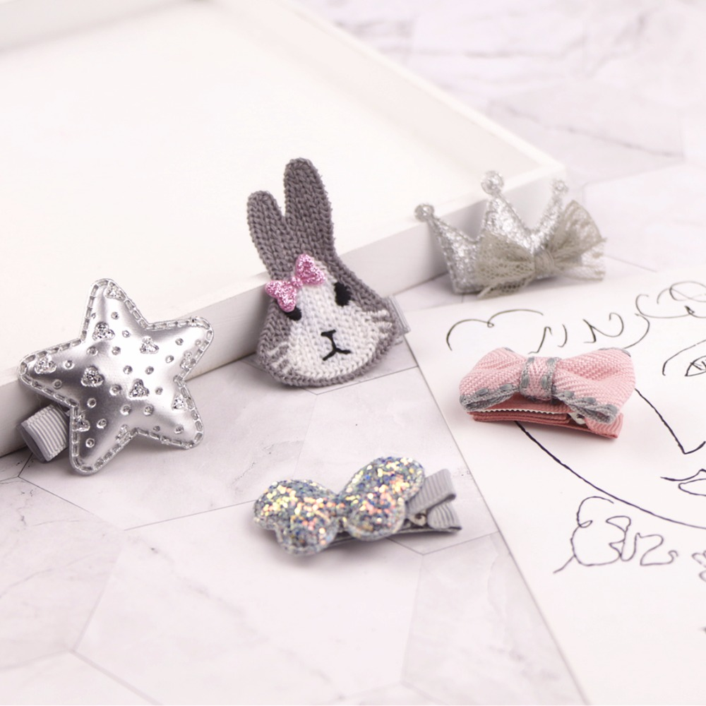 5PCS Fashion Princess Cartoon Glitter Shiny Lovely Rabbit Bow Children Girls Hair Clips Suit For Kids Cute Baby Hair Accessories