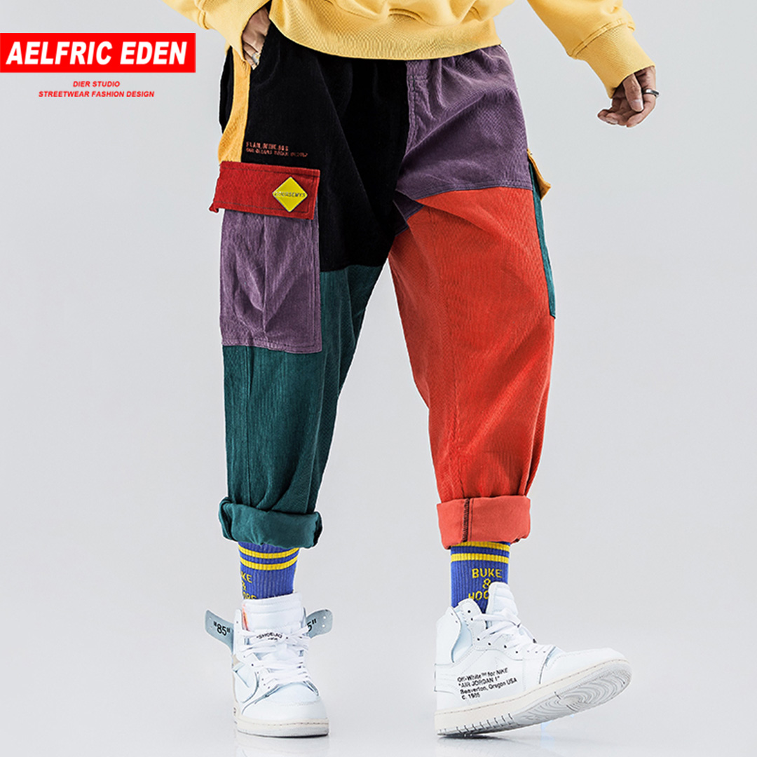 Aelfric Eden Corduroy Casual Pants Men Colorful Harem Joggers Fashion Harajuku Sweatpants Hip Hop Streetwear Male Trousers UR51
