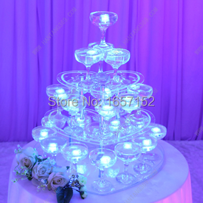 Wedding wine tower, three tiers heart shaped champagne tower, festive party supplies